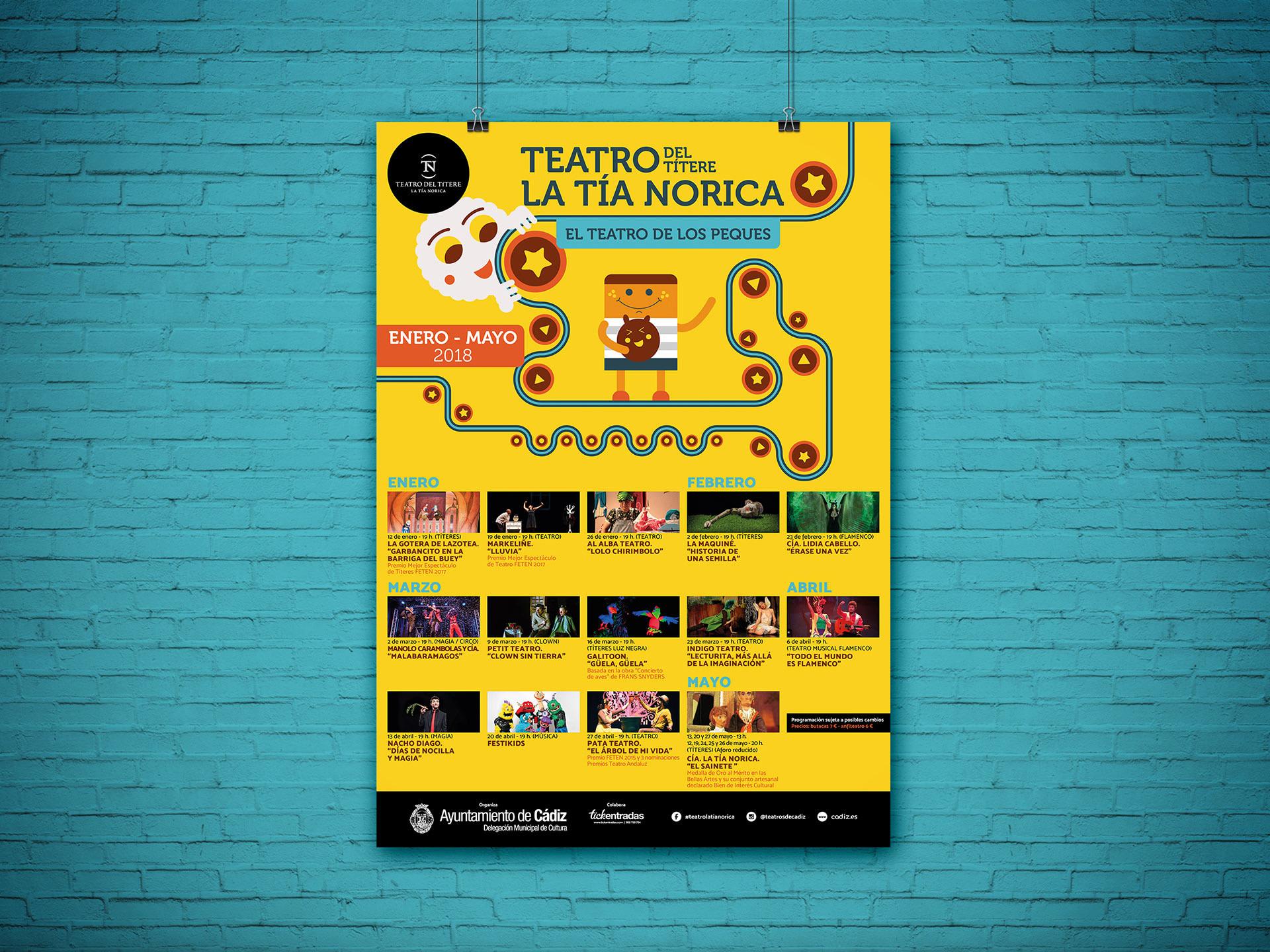 Cartel - Campaña de publicidad - Teatro del Títere - La Tía Norica (Enero - Mayo 2018)