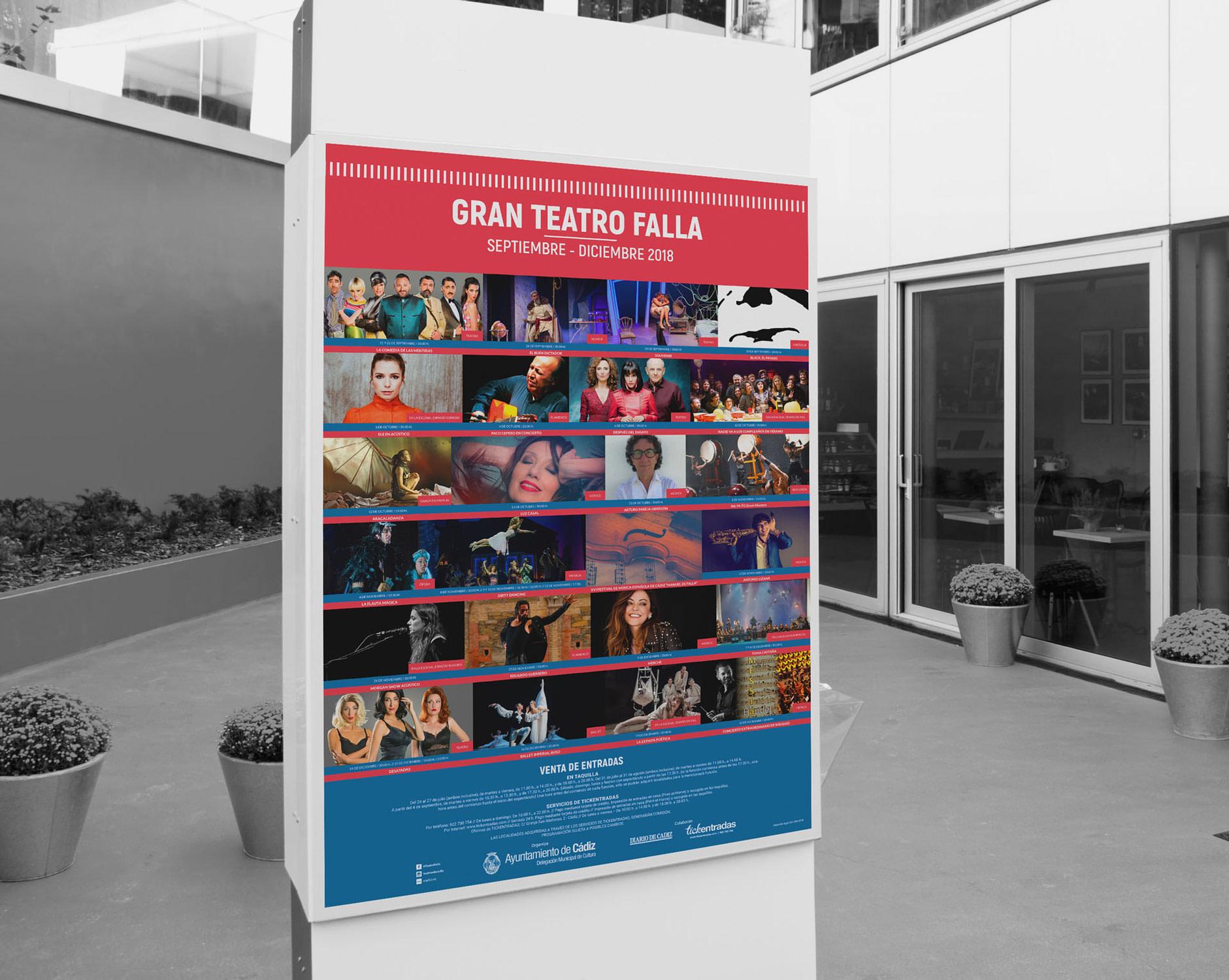 Cartel - campaña de publicidad - Gran Teatro Falla (Septiembre - Diciembre 2018)