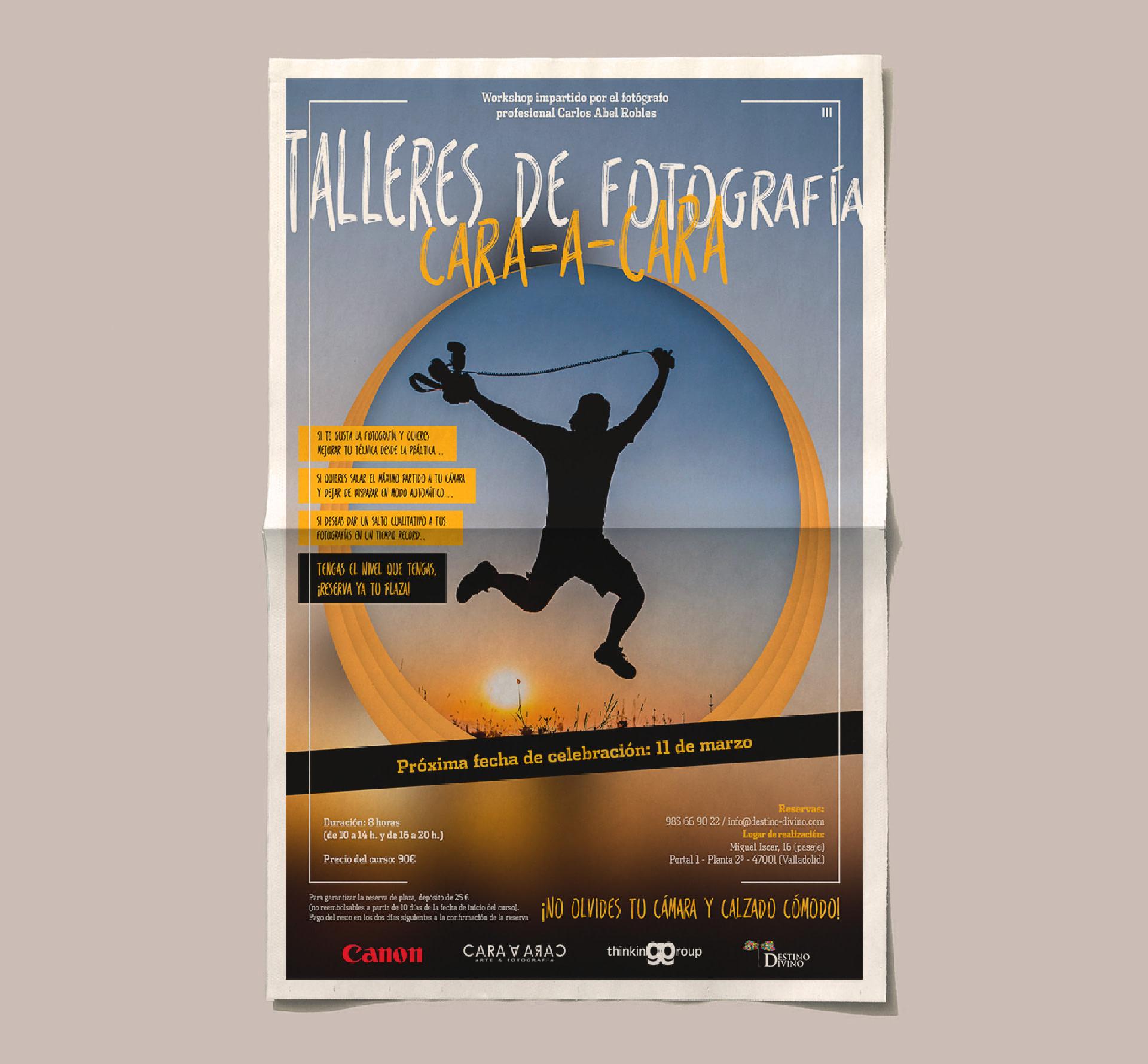 Cartel - Diseño editorial - Cartel Talleres de fotografía CARA-A-CARA (Marzo 2017)