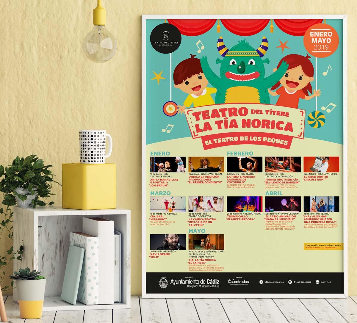Cartel - Campaña publicitaria - Teatro del Títere - La Tía Norica (Enero - Mayo 2019)