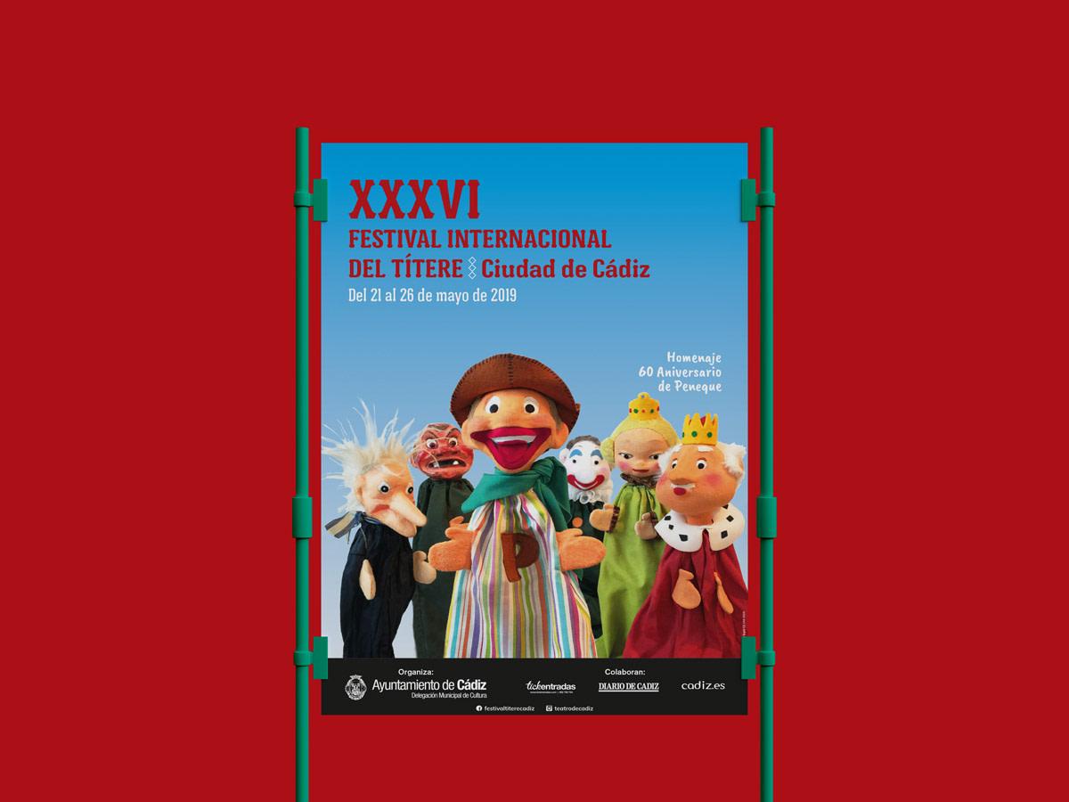 """Cartel - Diseño de campaña publicitaria - XXXVI Festival Internacional del Títere """"Ciudad de Cádiz"""""""