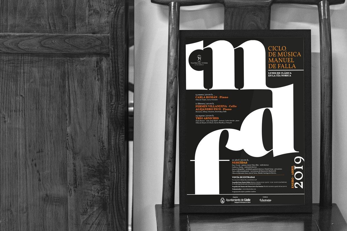 Folleto anverso - Imagenes de campañas - Ciclo de música – Manuel de Falla - Enero a Abril 2019