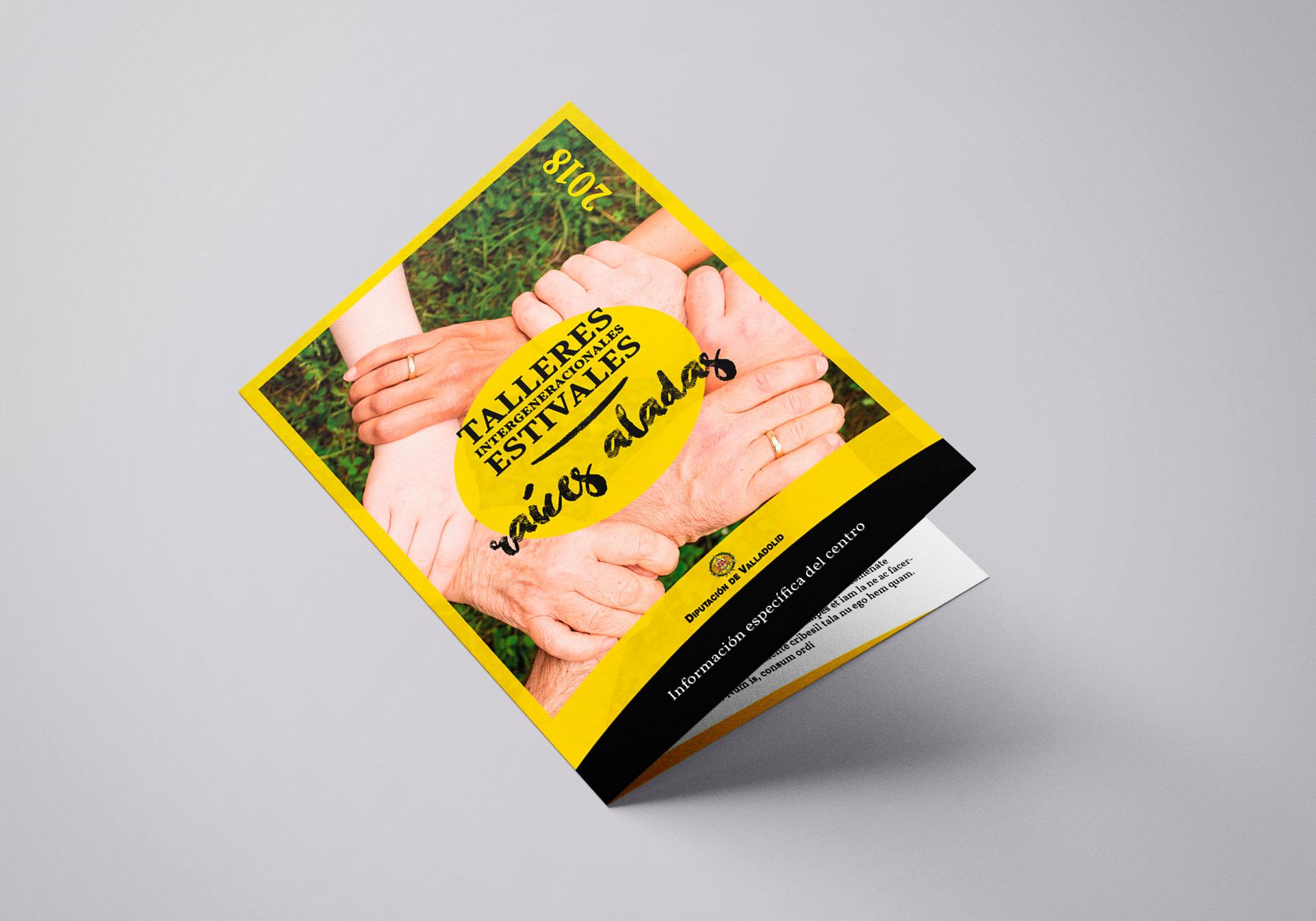 Díptico portada - Campaña de publicidad - Talleres Intergeneracionales Estivales 2018 (Raices Aladas)