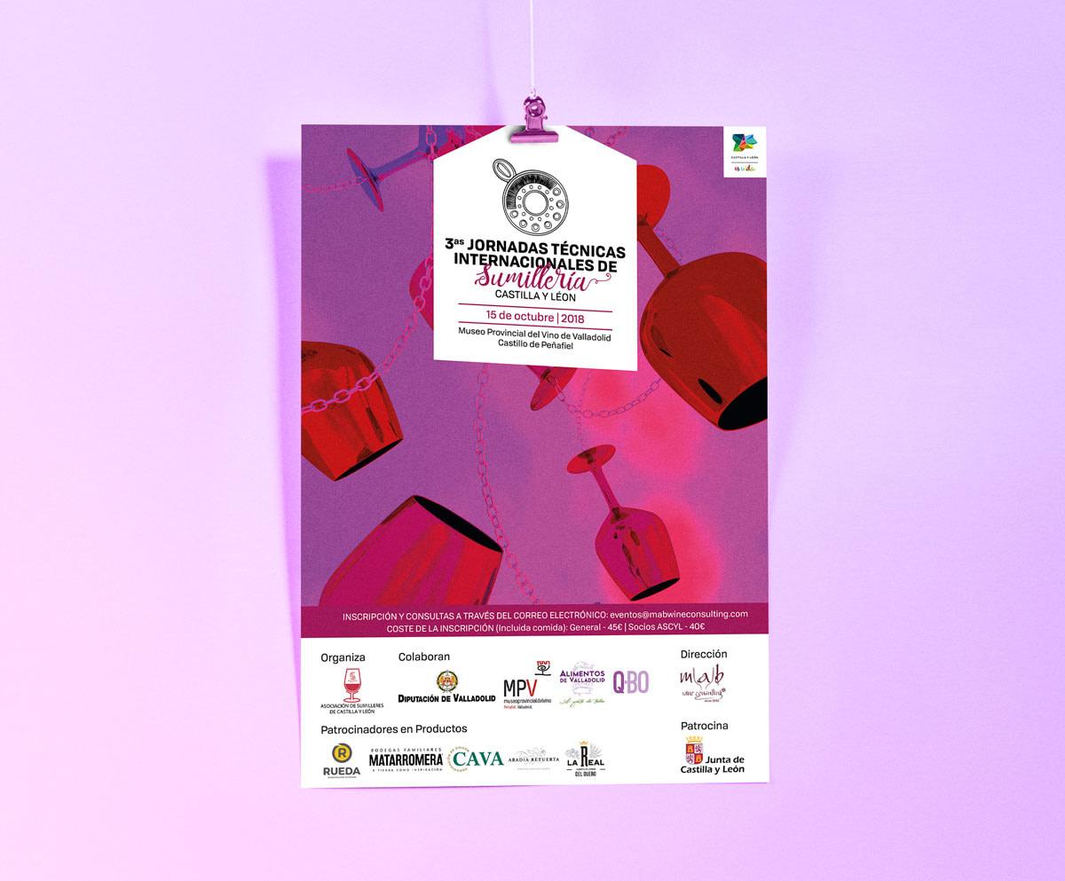 Cartel - Campaña de publicidad - 3º Jornadas Técnicas Internacionales de Sumillería - Castilla y León