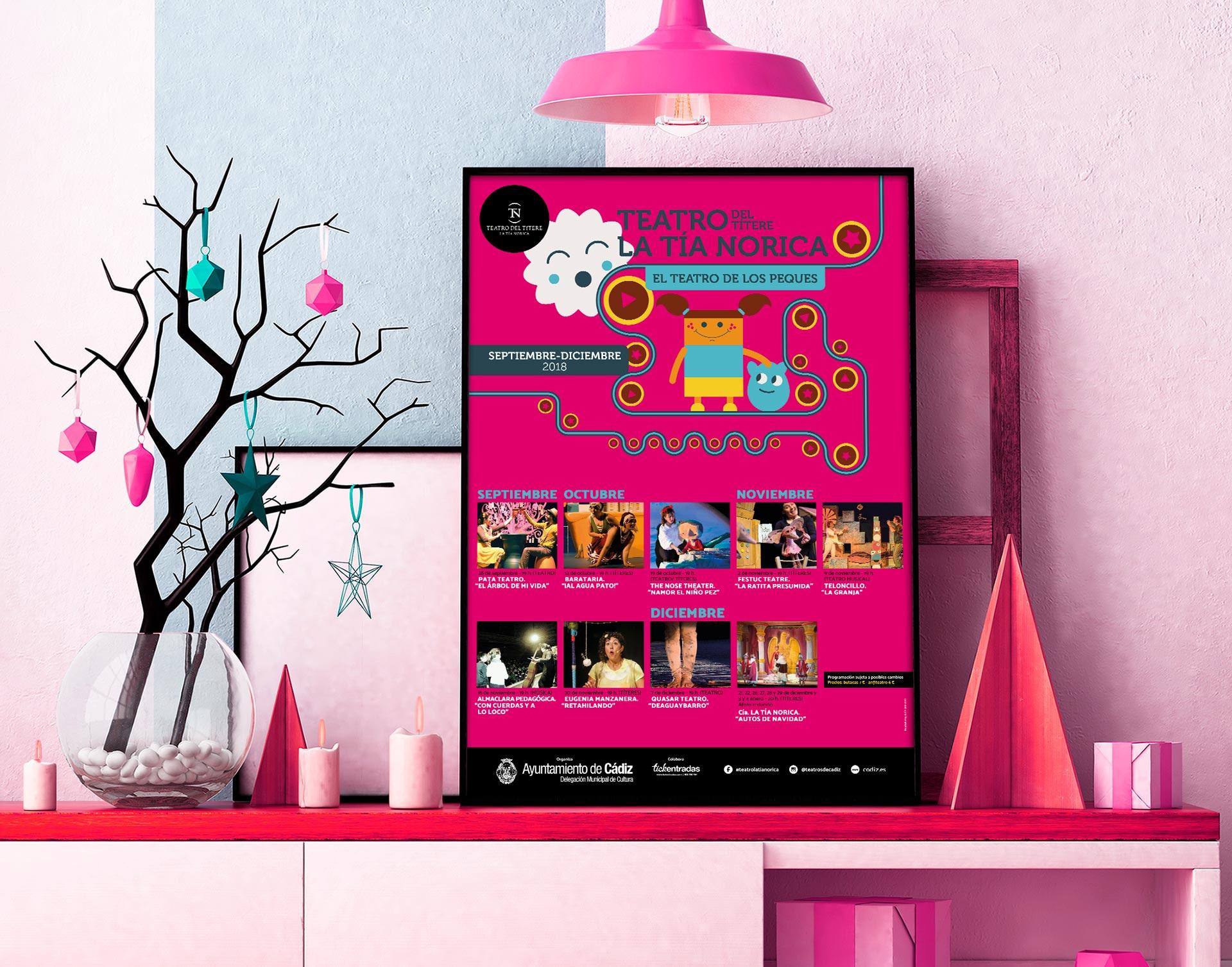 Cartel - campaña de publicidad - Teatro del Títere - La Tía Norica (Septiembre - Diciembre 2018)