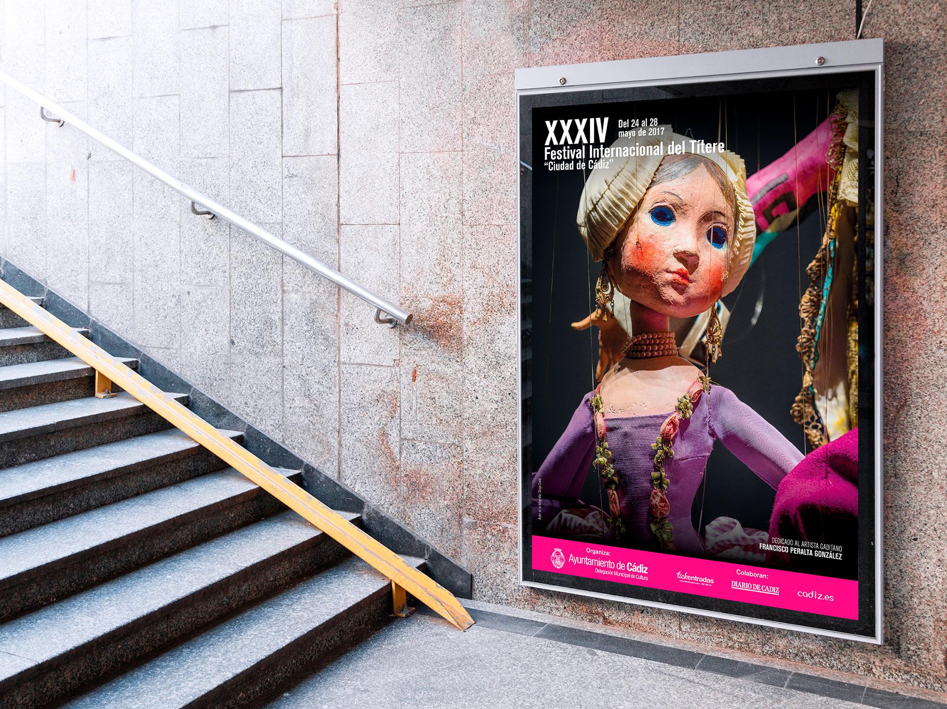 """Cartel - campaña de publicidad- XXXIV Festival Internacional del Títere """"Ciudad de Cádiz"""""""